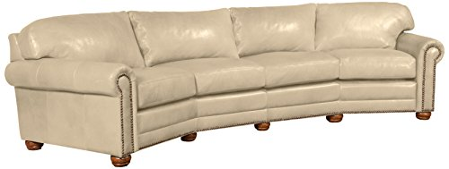 Omnia Leather Dominion 4 Seat Conversation Sofa in Leather, with Nail Head, Navajo Ivory - Seat Conversation Leather Sofa