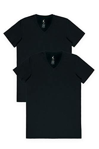 Texere Men's 2 PK V-Neck Shirt (Wayra, Black 2 PK, S) Daily Activewear Shirts