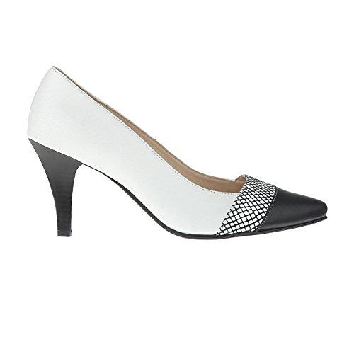 Tessamino Pumps Weite Absatz Stiletto Weiß mit Damen Echtleder G elegant aus HHxqr5Fwp