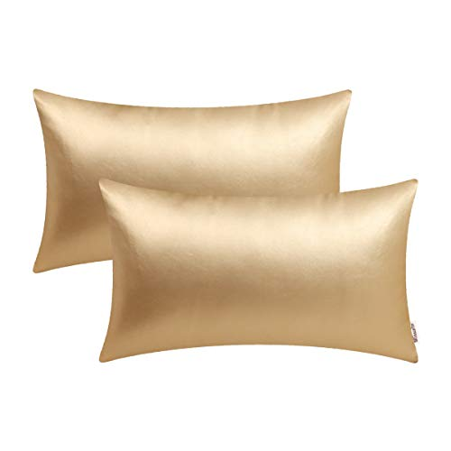 BRAWARM Pack of 2 Cozy Bolster Pillow Covers Cases for Couch Sofa Bed Solid Faux Leather Soft Luxury Cushion Covers Both Sides Home Decoration 12 X 20 Inches Gold (Gold White Pillow)