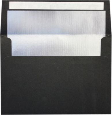 A7 Invitation Lined Envelopes (5 1/4 x 7 1/4) - Black w/Silver LUX Lining (250 Qty) | Perfect for Invitations, Announcements, Sending Cards, 5x7 Photos | Printable | 80lb Paper | FLBK4880-03-250