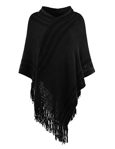 Ferand Women's Hooded Zigzag Striped Knit Cape Poncho Sweater with Fringes, One Size, Black (For Cape Women Hooded)