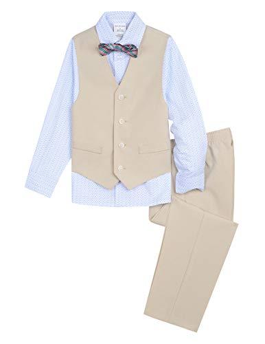 Van Heusen Boys' Toddler 4-Piece Formal Bow Tie Vest Set, Print Cement, 4T