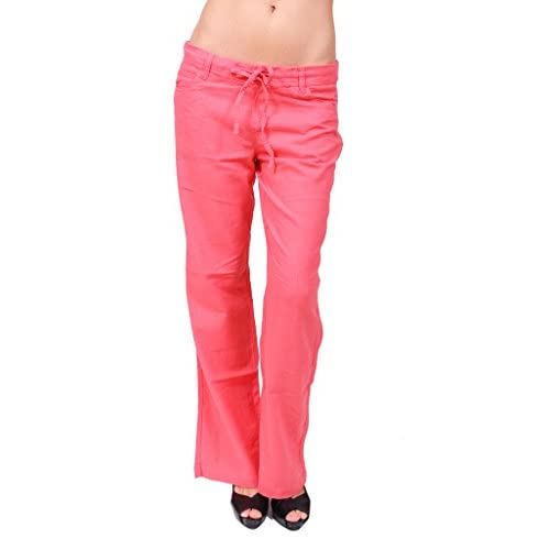 durable service Celebrity Pink Jeans Women Linen Drawstring Pants with 5 Pockets