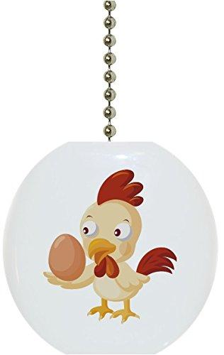 Carolina Hardware and Decor 1118F Chicken with Egg Ceramic Fan Pull