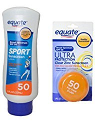 Equate Sport Lotion and Equate Ultra Spectrum Clear Zinc Sunscreen For Face & Lips, SPF 50 (Equate Clear Zinc Oxide Sunscreen Cream Spf 50)