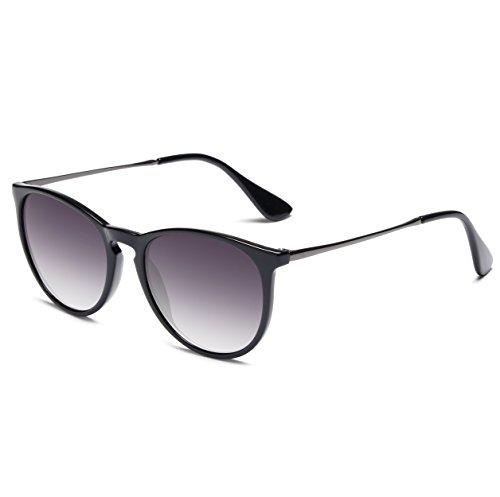SUNGAIT Vintage Round Sunglasses for Women Erika Retro Style (Black Frame Glossy Finish/Grey Gradient Lens)