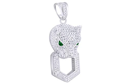 2 Cttw Round White & Green Natural Diamond Hip Hop Jewelry Panther Charm Pendant In 10k Solid White Gold