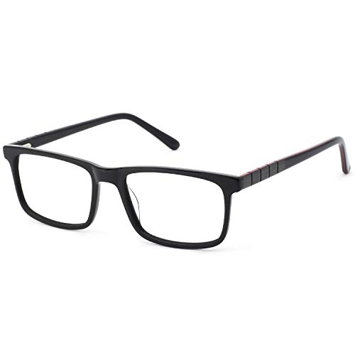 Metal Prescription Eyeglasses - OCCI CHIARI Non-Prescription Eyeglasses Frame Clear Glasses Metal Eyewear For Men (53mm Black+Red)