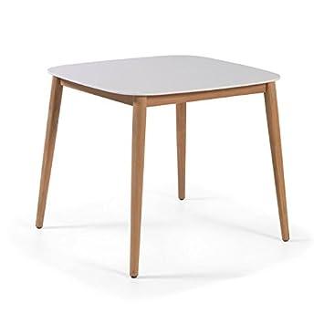 Amazon.de: Tisch Teak und duranite® weiß 90 x 90 cm Kimito