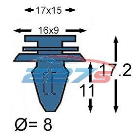 For Volvo V70,XC70,S80,XC90 Door Moulding Clips,Exterior Bumpstrip Clips30784514