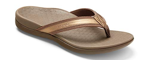 Vionic Women's Tide II Toe Post Sandal - Ladies Flip Flop with Concealed Orthotic Arch Support Bronze Metallic 10 B(M) US