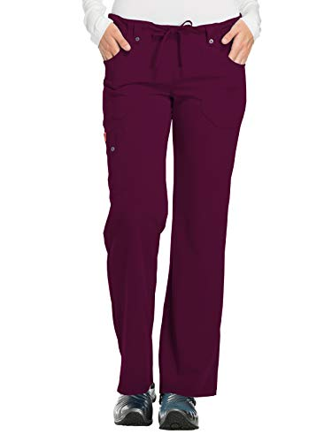 Dickies Women's Xtreme Stretch Fit Drawstring Flare Leg Pant, Wine, Large