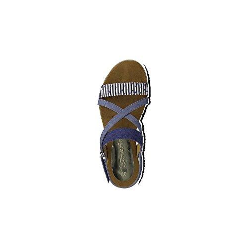 Tamaris 28131, Sandalias de Talón Abierto para Mujer Azul (Navy Comb)