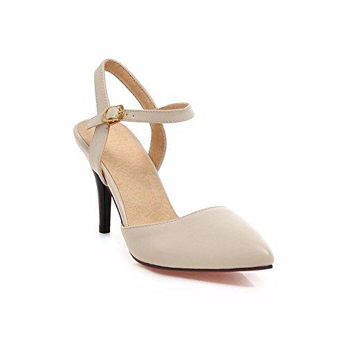 Tacones de verano, señaló el talón, hebilla, zapatos de mujer, sandalias ahuecado Beige