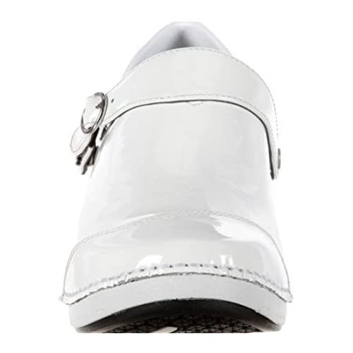 outlet 4EurSole Work Shoes Womens Patent Leather Clog White RKH051