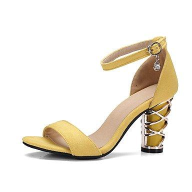 LvYuan Mujer Sandalias Vellón Verano Otoño Hebilla Tacón Robusto Negro Amarillo 7'5 - 9'5 cms Black