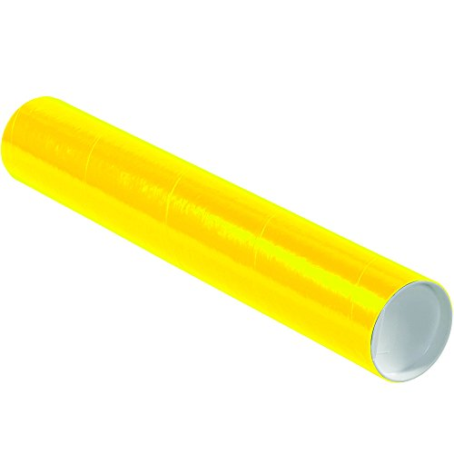 "Aviditi P3018Y Mailing Tubes with Caps, 3"" x 18"", Yellow (Pack of 24)"