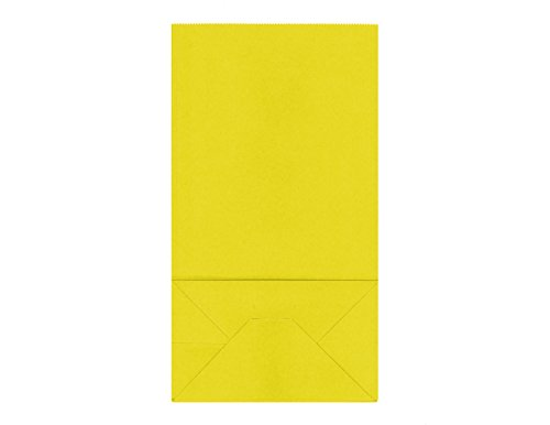 40CT Biodegradable, Food Safe Ink & Paper, Premium Quality Paper (Thicker), Paper Bag, Kraft Paper Sack,Goody Bags, Treat Sacks, Perfect for Party filled with Small Favors (Medium, Yellow) (Treat Sacks)