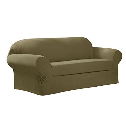 Moss Loveseat (Maytex Collin Stretch 2-Piece Slipcover Loveseat, Moss)