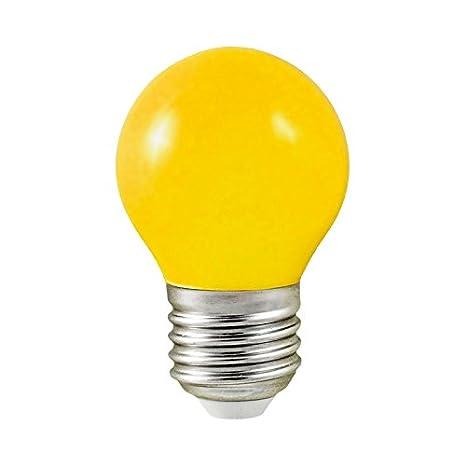 Vision-EL - Bombilla led (0,5 W, casquillo E27, forma esférica), color amarillo: Amazon.es: Iluminación