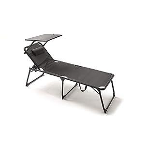 KG KITGARDEN – Tumbona Plegable Multiposiciones Playa/Camping, ExtraGrande XL, Gris Antracita, Relax