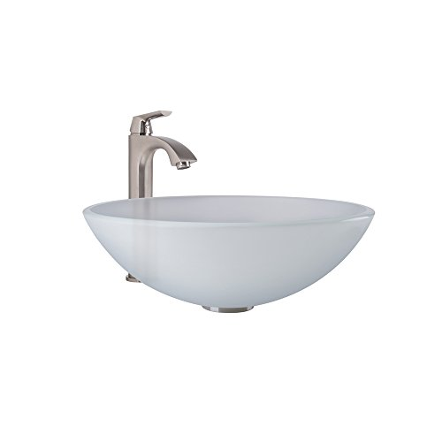 picture of VIGO White Frost Glass Vessel Bathroom Sink and Linus Vessel Faucet with Pop Up, Brushed Nickel