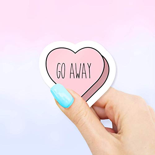 Go Away Heart Sticker for Laptops and Water ()