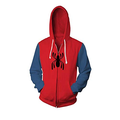 Halloween Cosplay Superhero Costume Peter Parker Homecoming Armor Jacket Hoodie for Men (Medium, Red)