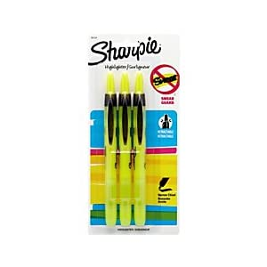 Sharpie(R) Accent(R) Retractable Highlighters, Fluorescent Yellow, Pack Of 3