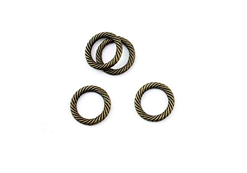 (Price per 1000 Pieces Jewelry Making Charms OPTT0 Twisted Circle Ring Pendant Ancient Bronze Findings Craft Supplies Bulk Lots)