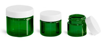 1 Oz. Green Plastic Straight Sided Jars with White Smooth Plastic Lined Caps (48 - Sided Straight Jar Green