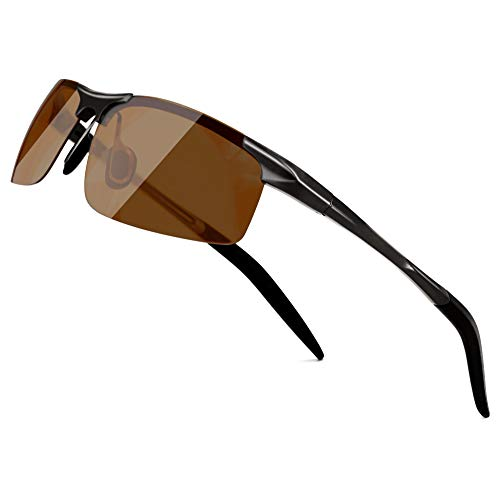 SUNGAIT Men's HD Polarized Sunglasses for Driving Fishing Cycling Running Metal Frame UV400 (Black Frame Brown Lens) 8177HKC