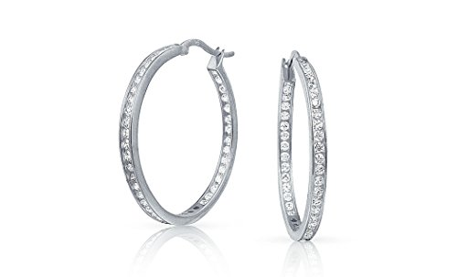 NYC Sterling Women's 30MM In & Out Cubic Zirconia Hoop Earring