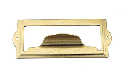 [J441 - 3 1/2'' Width x 1 1/2'' Height Brass Plated Cardholder w/Pull] (Brass Plated Card Holder)