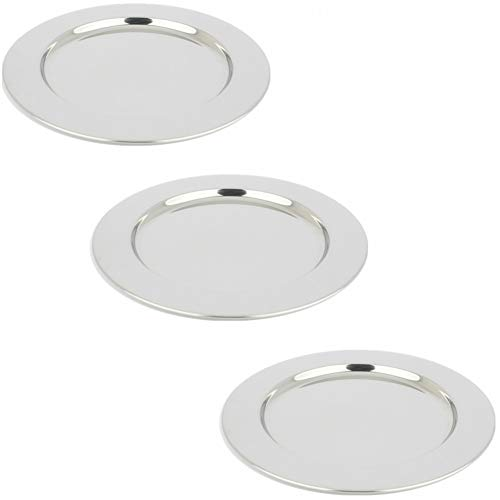 Yamde 3 Pcs 8.5 Inch Stainless Steel Round Plate Set for Camping Outdoor,Serving Tray,Dish Plate,Kitchen by Yamde (Image #3)