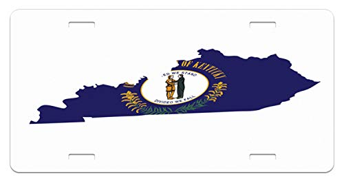 - Lunarable Kentucky License Plate, Map with Flag of Bluegrass State United We Stand Divided We Fall Motto, High Gloss Aluminum Novelty Plate, 5.88