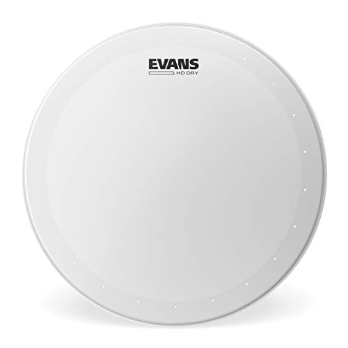 "Evans Genera HD Dry Snare Drum Head, 12"" (White)- Coated Drum Head Made Using Two Plies of Film -Overtone Ring Controls Sustain - Small Vent Holes Eliminate Stray Harmonics -Great for Live and Studio"