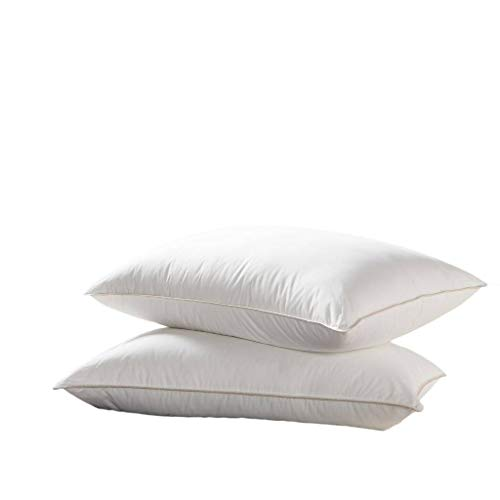 Egyptian Bedding Goose Down Pillow - 1200 Thread Count Egyptian Cotton, Soft, Standard Size, Set of...