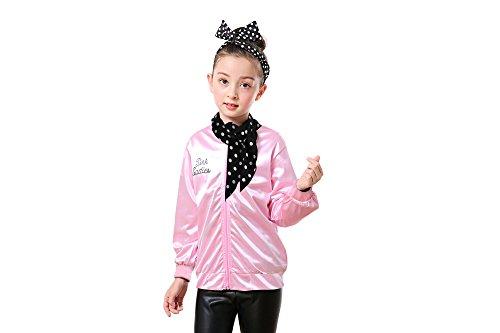 1950s Girls' Grease Pink Ladies Jacket Halloween Costume (S, Rhinestore)