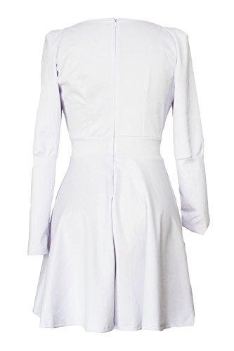 New Damen Weiß Tiefer V-Ausschnitt Skater Kleid Party Wear Club Wear Arbeit Kleid Größe L UK 12EU 40