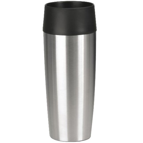 Emsa Thermos Bottle 12.17 oz of Stainless Steel, Silver/Black