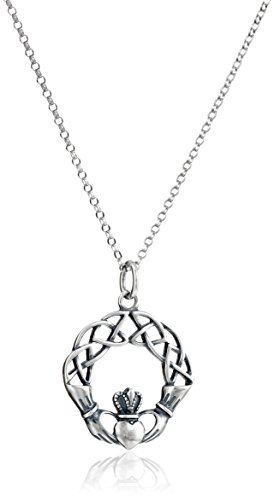 Claddagh Jewelry - Sterling Silver Oxidized Claddagh Celtic Knot Pendant Necklace, 18