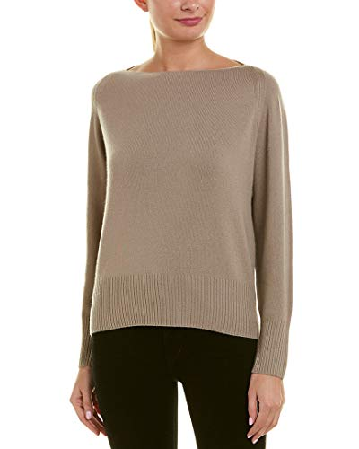 Vince Wool/Cashmere Boatneck Pullover Sweater, Wet Sand (Large)