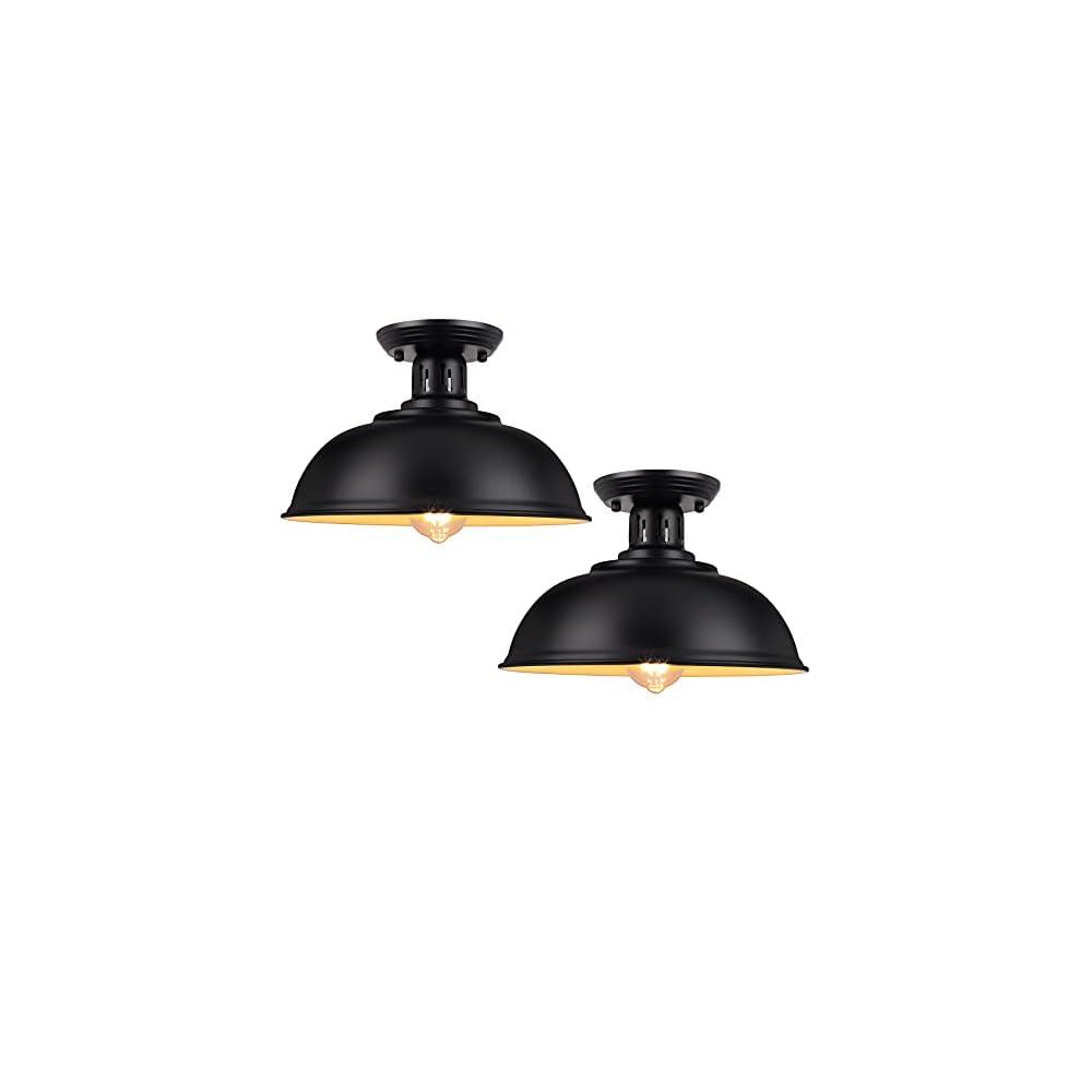 Flush Mount Ceiling Light, Farmhouse Ceiling Light Fixture, Industrial Close to Ceiling Lights Fixtures, Black Semi…