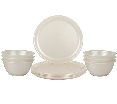 Day2Day Forever Pearl White Microwave Safe Dinner Plates   Bowls Set Pack of 12