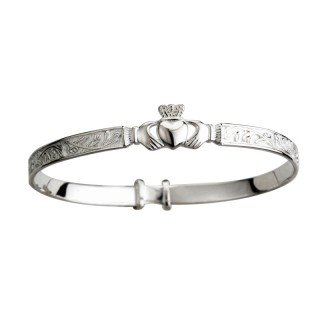 Sterling Silver Irish Claddagh Baby Bangle by Solvar by The Irish Store - Irish Gifts from Ireland