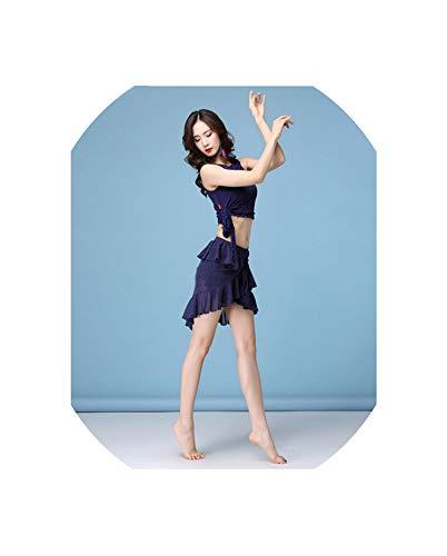 Women's Sexy Mesh 5 Colour Clothes Short Sleeves+Skirt 2Pcs Belly Dance Suit M,L,XL,Blue,L -