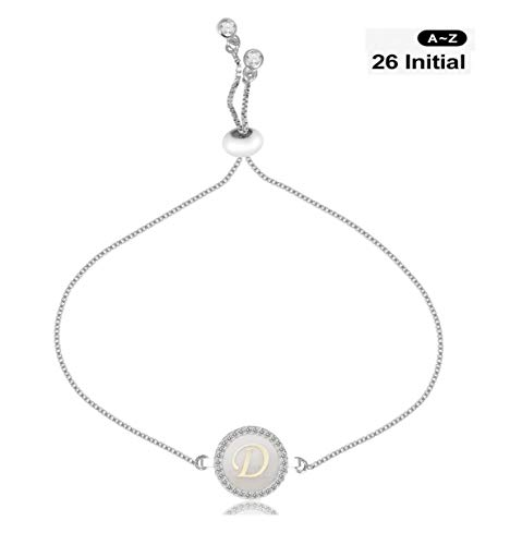 (CILILI Design 26 Alphabet Charms Initial Shell Letters with White Rhinestones Snake Chain Bracelet for Women Girls Adjustable (Silver, D))