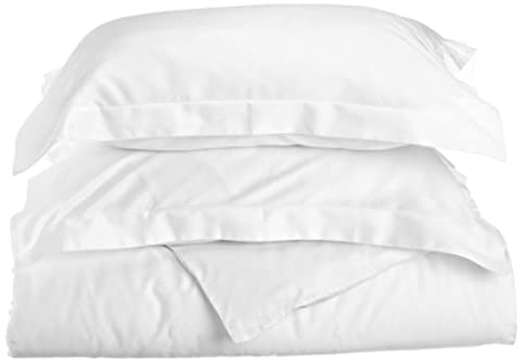 100% Premium Combed Cotton 400 Thread Count, Single Ply, Twin 2-Piece Duvet Cover Set, Solid, White - Sateen Single